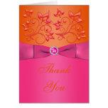 El rosa y florales anaranjados le agradecen cardar felicitación