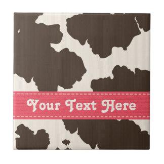 El rosa y la vaca de Brown imprimen la baldosa cer Azulejo Cuadrado Pequeño