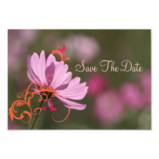 """El rosa y los remolinos florales de la mandarina invitación 3.5"""" x 5"""""""