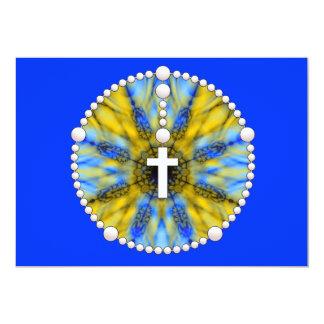 """El rosario amarillo y azul le agradece invitación 5"""" x 7"""""""