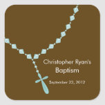 El rosario dulce gotea el azul del sello del favor calcomania cuadrada personalizada