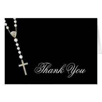 El rosario negro elegante del oro le agradece las tarjeta pequeña