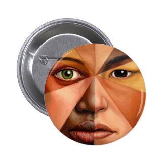 El rostro humano pin redondo de 2 pulgadas