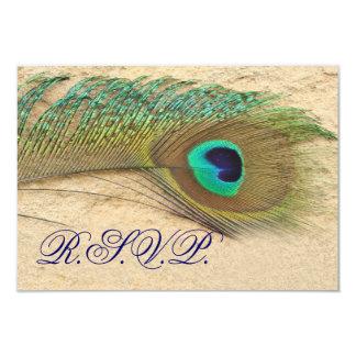 """el rsvp azul del pavo real carda el estándar 3,5 x invitación 3.5"""" x 5"""""""