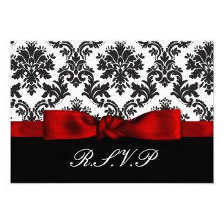 el rsvp rojo del damasco carda el estándar 3 5 x 5 anuncio