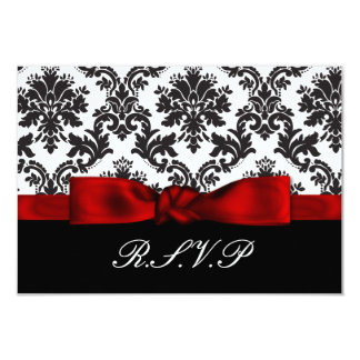 el rsvp rojo del damasco carda el estándar 3,5 x 5 invitación 8,9 x 12,7 cm