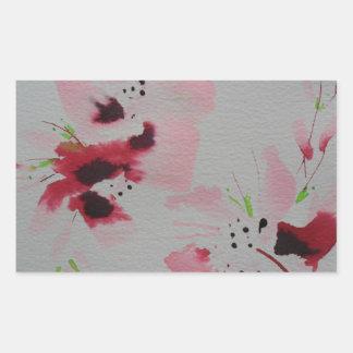 El rubí, el rosa y la flor abstracta de la cal pegatina rectangular
