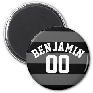 El rugbi de plata negro y gris raya el número imán redondo 5 cm