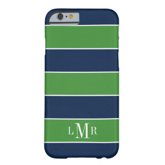 El rugbi verde y azul raya el monograma de 3 funda para iPhone 6 barely there