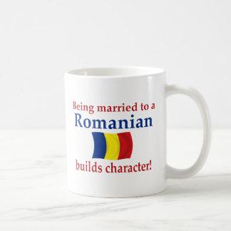 El rumano construye el carácter taza básica blanca