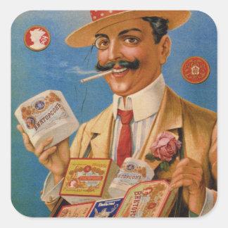 El ruso de los productos de tabaco del vintage pegatina cuadrada