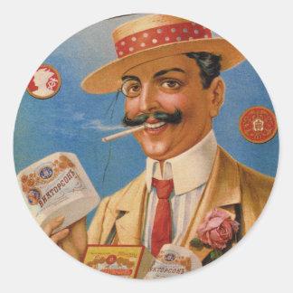 El ruso de los productos de tabaco del vintage pegatina redonda
