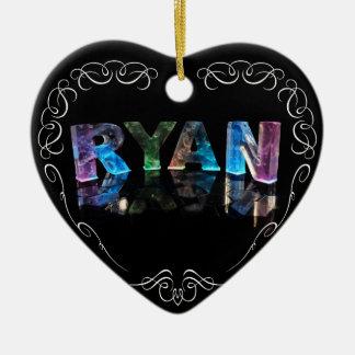El Ryan conocido en 3D se enciende (la fotografía) Adorno Navideño De Cerámica En Forma De Corazón