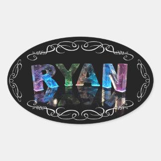 El Ryan conocido en 3D se enciende (la fotografía) Pegatina Ovalada