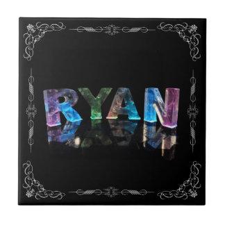 El Ryan conocido - nombre en las luces Azulejo Cuadrado Pequeño