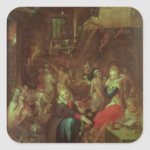 El Sabat de las brujas, 1606 Calcomanía Cuadradas Personalizada
