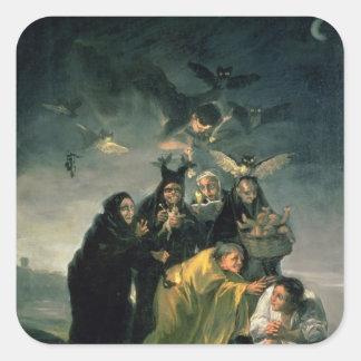 El Sabat de las brujas Pegatina Cuadrada