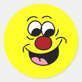 El sabelotodo jadea la cara sonriente Grumpey Pegatina Redonda