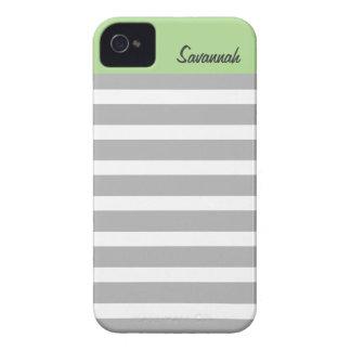 El sabio las rayas grises personalizó el iPhone 4 Case-Mate iPhone 4 Coberturas