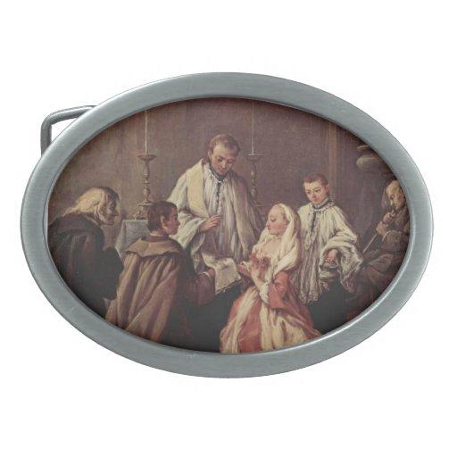 El sacramento de la boda de Pietro Longhi Hebilla De Cinturon Oval