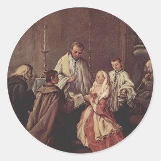El sacramento de la boda de Pietro Longhi Pegatinas Redondas