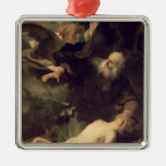 El sacrificio de Abraham, 1635 Adorno Navideño Cuadrado De Metal