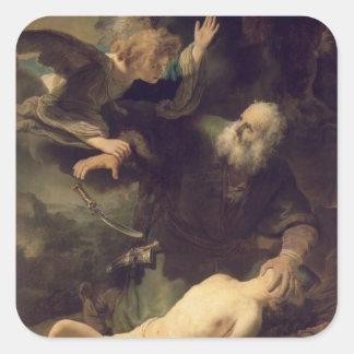 El sacrificio de Abraham, 1635 Pegatinas Cuadradas