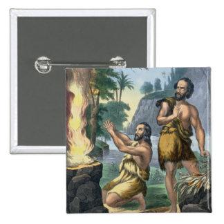 El sacrificio de Caín y de Abel, de una impresión  Pin Cuadrada 5 Cm