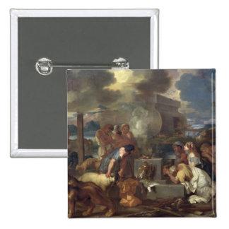 El sacrificio de Noah, c.1640 Pin Cuadrado