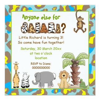 El safari de los animales de la selva embroma a la invitación 13,3 cm x 13,3cm
