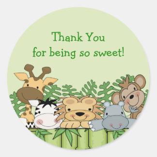 El safari de selva del bebé le agradece pegatina
