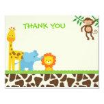 El safari de selva le agradece las tarjetas de invitación 10,8 x 13,9 cm