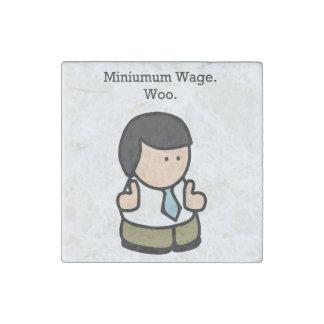 El salario mínimo corteja el dibujo animado imán de piedra