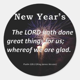 El salmo 126-3 del Año Nuevo Pegatina Redonda