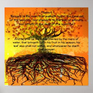 El salmo 1 Blessed es el ManThat Walketh Póster