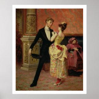El salón del teatro del liceo (aceite en lona) póster