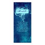 El salón invita al dril de algodón floral del azul invitación 10,1 x 23,5 cm