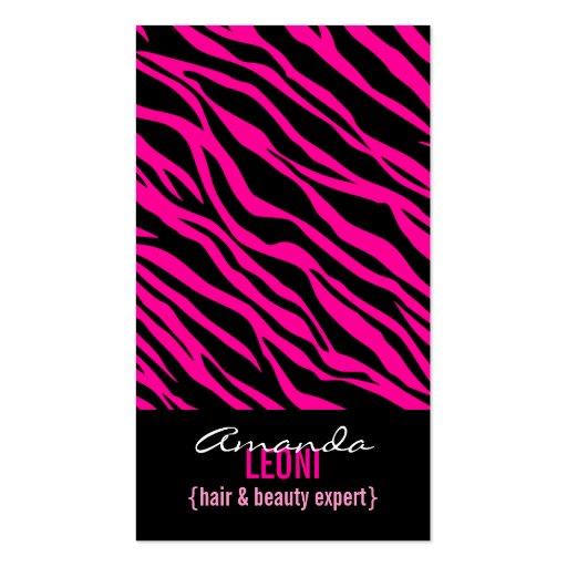 El salón rosado del estampado de zebra equipa tarjetas de visita