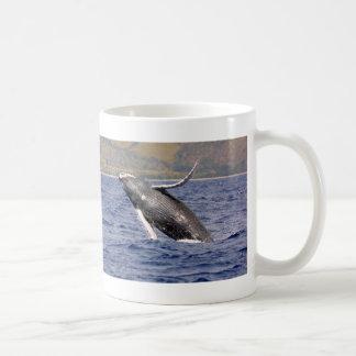 El salpicar de la ballena jorobada taza de café