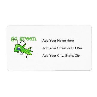 El saltamontes va las camisetas y los regalos verd etiqueta de envío