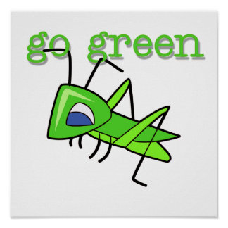 El saltamontes va las camisetas y los regalos verd póster