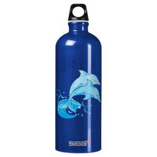 El saltar azul de dos delfínes de Bottlenose del