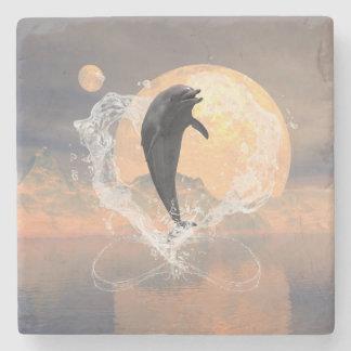 El saltar del delfín de un corazón hecho del agua posavasos de piedra