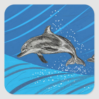 El saltar del delfín del mar azul pegatina cuadrada