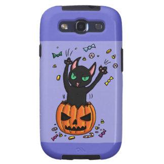 El saltar del gato negro de Halloween de una calab Samsung Galaxy S3 Case