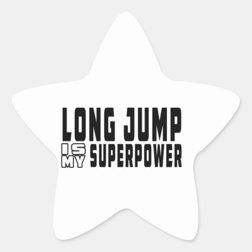El salto de longitud es mi superpotencia calcomanías forma de estrella personalizadas