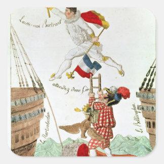 El salto pasado de un gran hombre, 1815 pegatinas cuadradas