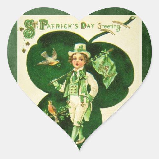 El saludo de St Patrick del vintage Pegatina En Forma De Corazón