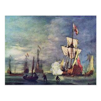 El saludo de Willem Van De Velde el más joven Tarjeta Postal