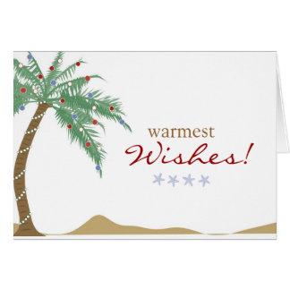 El saludo más caliente de la palmera de los deseos tarjeta de felicitación